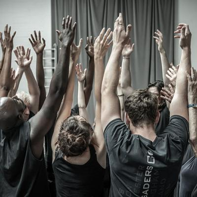 The company in rehearsals for Blood Wedding. Young Vic 2019. Photo by Marc Brenner.