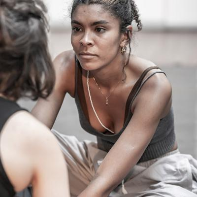 Thalissa Teixeira in rehearsals for Blood Wedding. Young Vic 2019. Photo by Marc Brenner.
